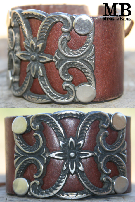 TOOLED LEATHER HEART CUFF
